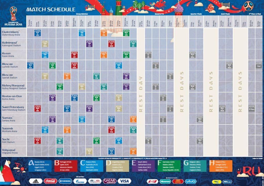 Der FIFA Fußball WM 2018 Spielplan (Quelle: FIFA)