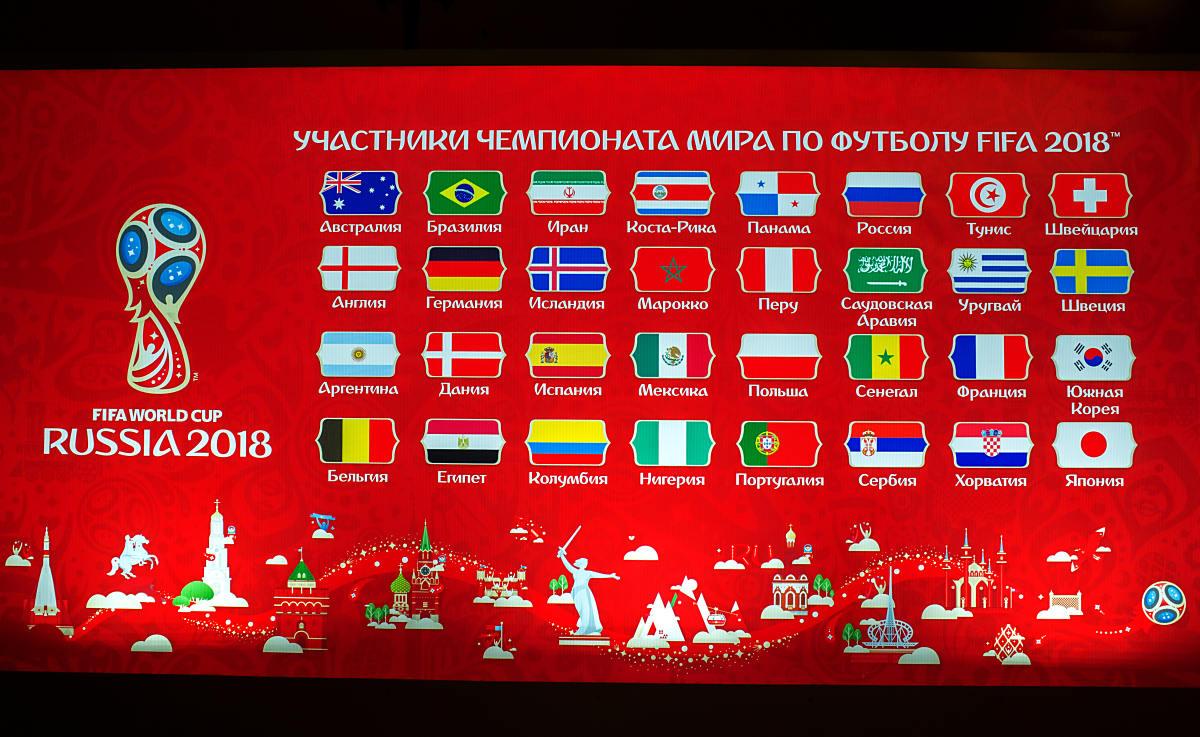 Die 32 WM Teilnehmer für die Fußball WM 2018 in Russland vor der WM-Auslosung am 1.Dezember 2018 (Foto Shutterstock)